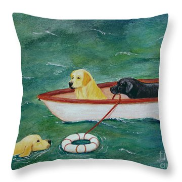 Lifeboat Labrador Dogs To The Rescue Throw Pillow