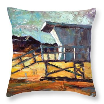 Lifeguard Station Number Two Throw Pillow by Lindsay Frost
