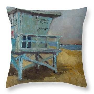 Lifeguard Station One Throw Pillow by Lindsay Frost