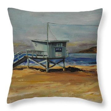 Lifeguard Station Twenty Two Throw Pillow by Lindsay Frost