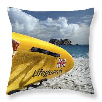 Lifeguard Surfboard Throw Pillow by Joseph S Giacalone