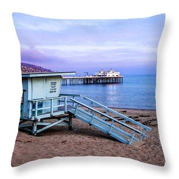 Lifeguard Tower And Malibu Beach Pier Seascape Fine Art Photograph Print Throw Pillow by Jerry Cowart