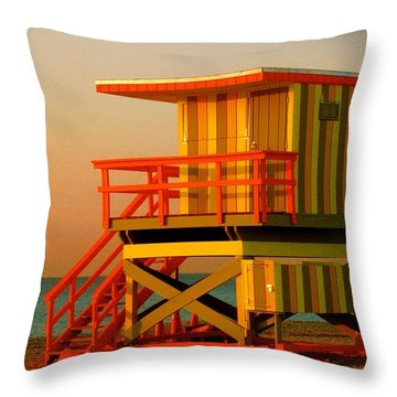 Lifeguard Tower In Miami Beach Throw Pillow by Monique Wegmueller