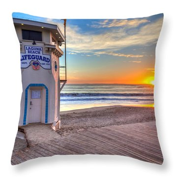 Lifeguard Tower On Main Beach Throw Pillow