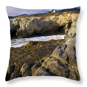 Lifeguard Tower On The Edge Of A Cliff Throw Pillow