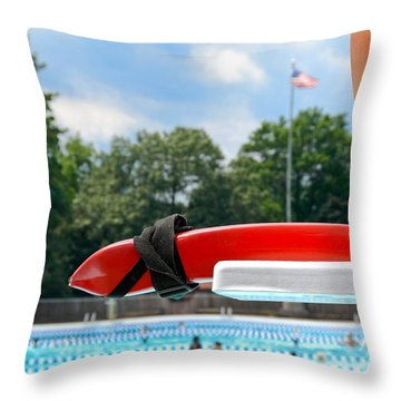 Lifeguard Watches Swimmers Throw Pillow by Amy Cicconi