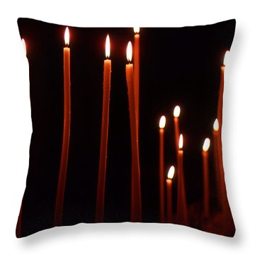 Light A Candle Say A Prayer Throw Pillow