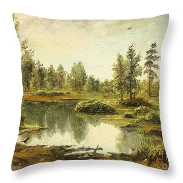 Throw Pillow featuring the painting Light After The Storm by Sorin Apostolescu