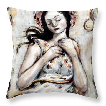 Light And Flower Angel Throw Pillow by Carrie Joy Byrnes