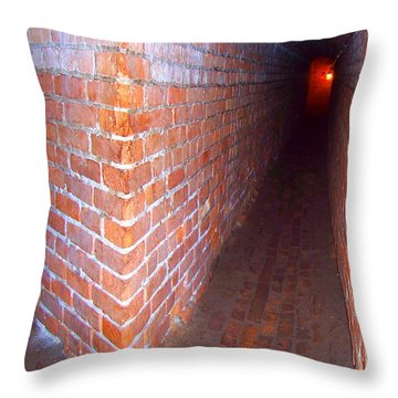 Throw Pillow featuring the photograph Light At The End Of The Tunnel Fort Pickens Florida by Jennifer Muller