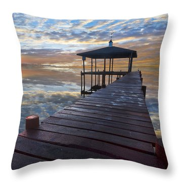 Light At The Lake Throw Pillow by Debra and Dave Vanderlaan