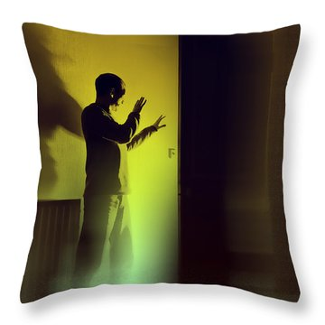 Throw Pillow featuring the photograph Light Behind Door by Craig B
