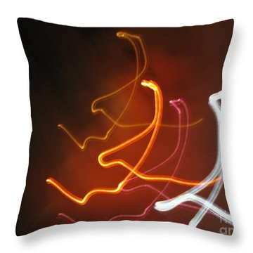 Throw Pillow featuring the photograph Light Drawing. I..i..i... Dancing Lights Series by Ausra Huntington nee Paulauskaite