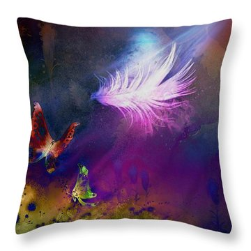 Throw Pillow featuring the painting Light Feather by Lilia D