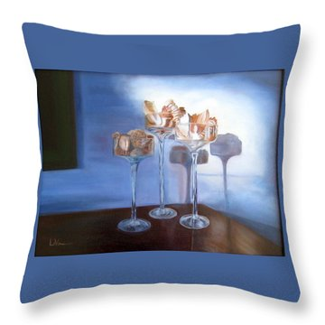 Throw Pillow featuring the painting Light Glass And Shells by LaVonne Hand