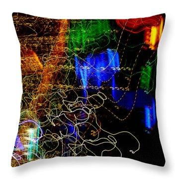 Light Graffitti Resembling Sea Horses Throw Pillow