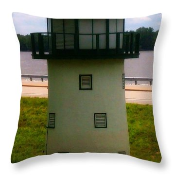 Light House At Grafton Boat Dock Throw Pillow