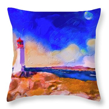 Throw Pillow featuring the painting Light House At Peggys Cove by Ted Azriel