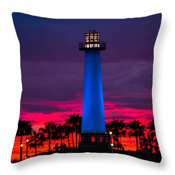 Light House In The Firey Sky Throw Pillow by Denise Dube