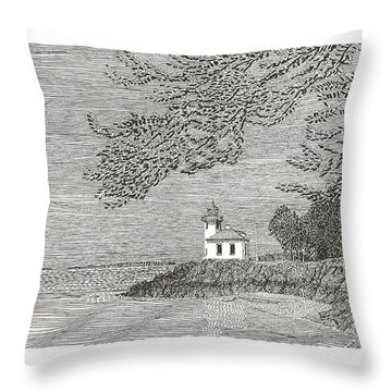 Light House On San Juan Island Lime Point Lighthouse Throw Pillow by Jack Pumphrey