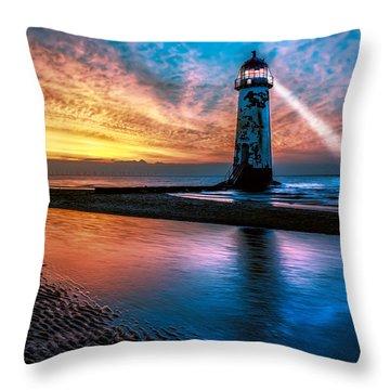 Light House Sunset Throw Pillow