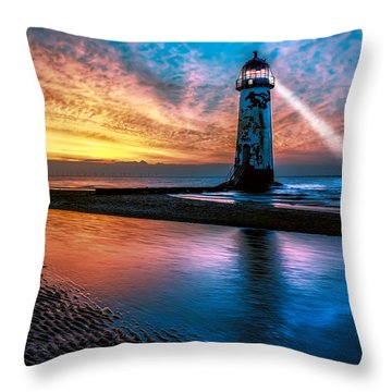 Light House Sunset Throw Pillow