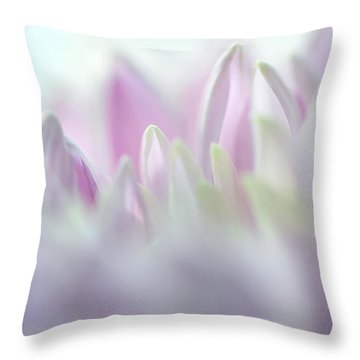 Light Impression 2. Pink Chrysanthemum  Throw Pillow by Jenny Rainbow
