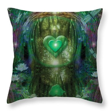 Light In The Forest Throw Pillow by Alixandra Mullins