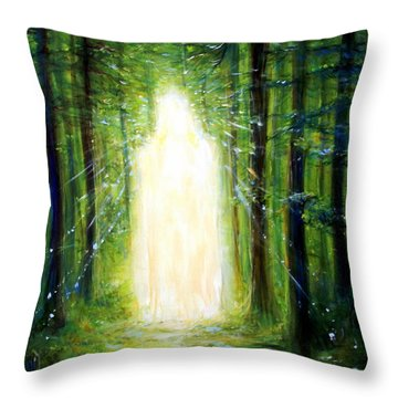 Throw Pillow featuring the painting Light In The Garden by Heather Calderon