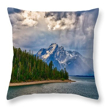 Light On Moran Throw Pillow by Greg Norrell