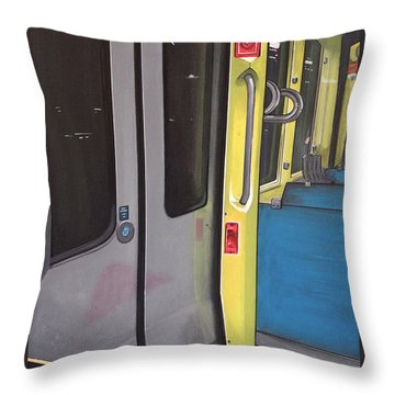 Throw Pillow featuring the painting Light Rail by Jude Labuszewski