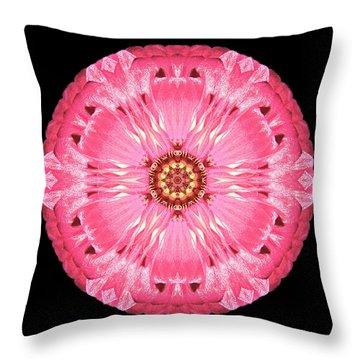 Throw Pillow featuring the photograph Light Red Zinnia Elegans Flower Mandala by David J Bookbinder