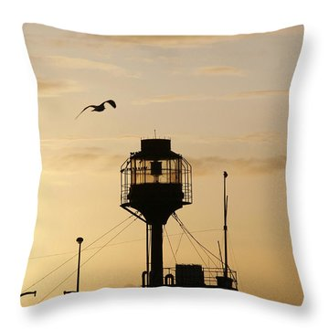Light Ship Silhouette At Sunset Throw Pillow