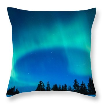Light Swirl On Rainy Lake Throw Pillow