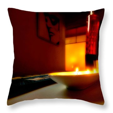 Light The Bottle Throw Pillow by Melinda Ledsome