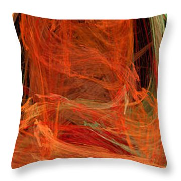 Light The Torch A Flickering Flame - Panorama  - Abstract - Fractal Art Throw Pillow by Andee Design