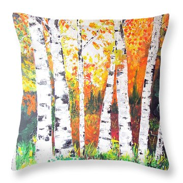 Sunrise On Birch Throw Pillow by Gary Smith