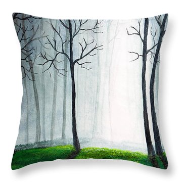 Light Through The Forest Throw Pillow by Nirdesha Munasinghe
