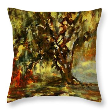 Light Through The Moss Tree Landscape Painting Throw Pillow