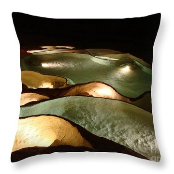 Light Up The Dark - Lit Natural Rock Water Basins In Underground Cave Throw Pillow by Menega Sabidussi