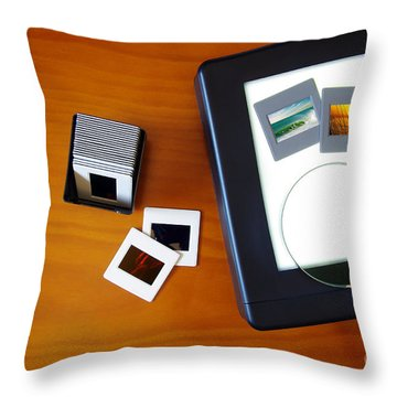 Lightbox With Slides Throw Pillow by Carlos Caetano