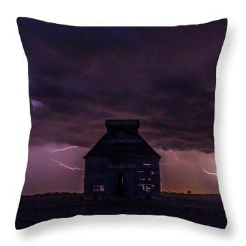 Lightening Against The Barn Throw Pillow