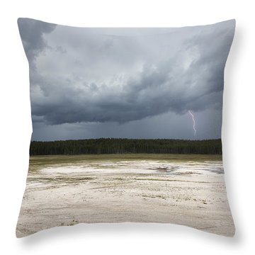 Lightening At Yellowstone Throw Pillow by Belinda Greb