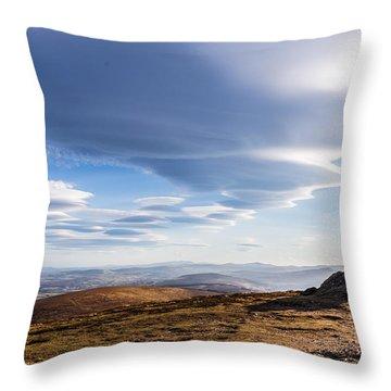 Lightfall On Djouce Mountain Summit Throw Pillow