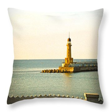 Lighthouse - Alexandria Egypt Throw Pillow by Mary Machare