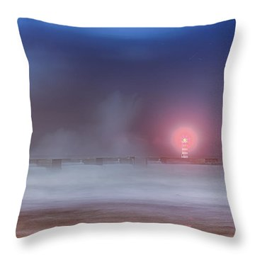 Lighthouse And Big Waves Throw Pillow