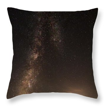Lighthouse And Milky Way Throw Pillow