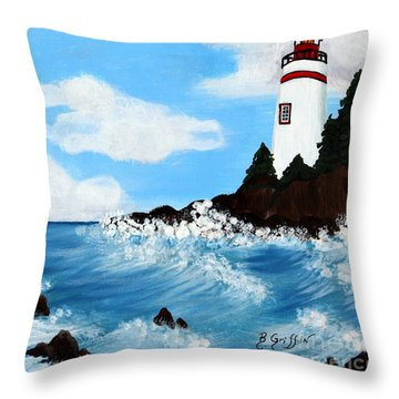 Lighthouse And Sunkers Throw Pillow by Barbara Griffin