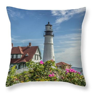 Lighthouse And Wild Roses Throw Pillow