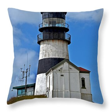 Lighthouse At Cape Disappointment Washington Throw Pillow by Valerie Garner